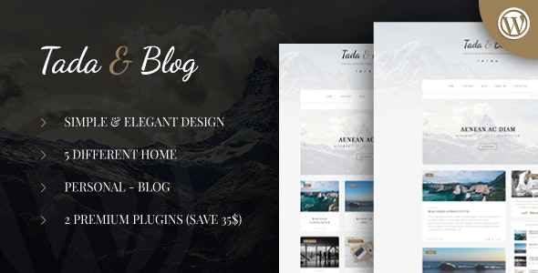 Tada & Blog v1.3 — Personal WordPress Template