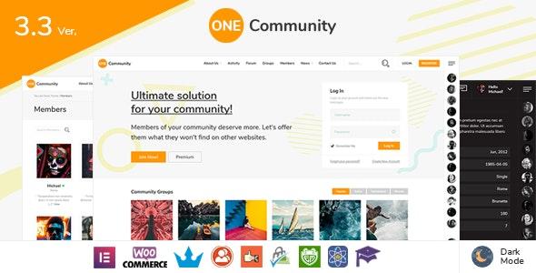 OneCommunity v3.3.3 — BuddyPress Nouveau Community Theme