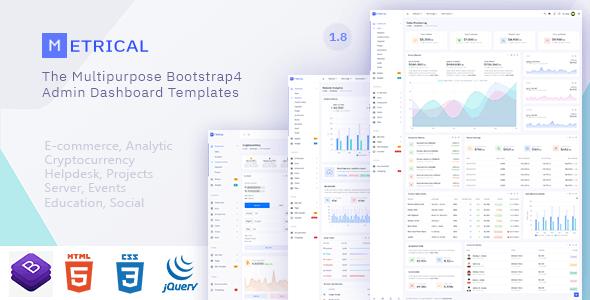 Metrical v1.8 — Multipurpose Bootstrap4 Admin Dashboard Template