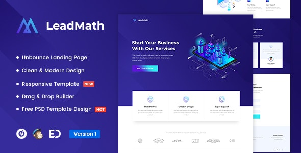 LeadMath v1.0 — Lead Generation Unbounce Landing Page Template