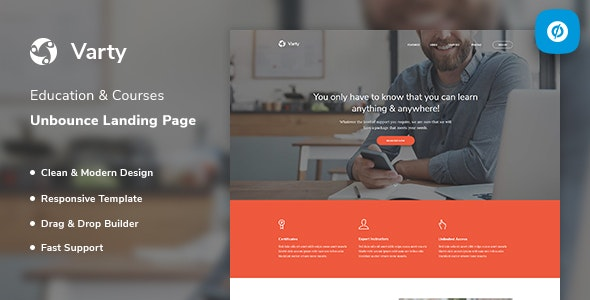 Varty v1.0 — Education & Course Unbounce Landing Page Template