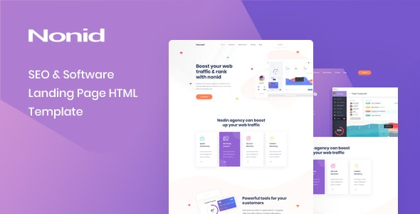 Nonid v1.0.0 — SEO & Software Landing Page HTML Template