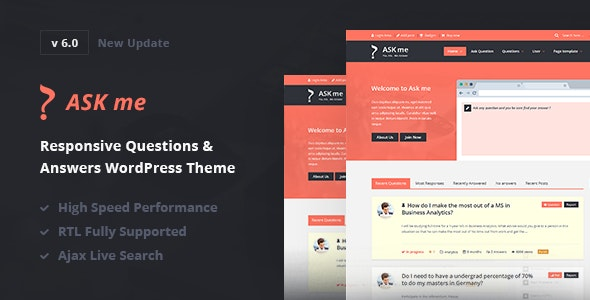 Ask Me v6.0 — Responsive Questions & Answers WordPress