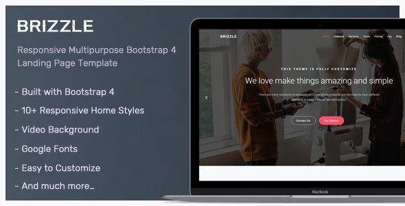 Brizzle v1.0 — Responsive Bootstrap 4 Landing Page Template