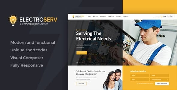 ElectroServ v1.3.2 — Electrical Repair Service WordPress Theme