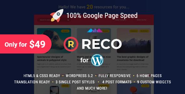 Reco v3.3.2 — Minimal Theme for Freebies