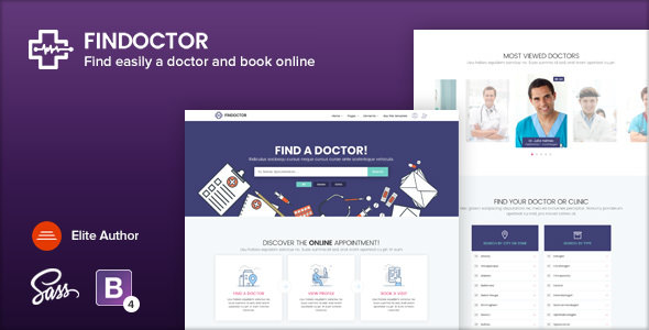 FINDOCTOR v1.6 — Doctors directory and Book Online template
