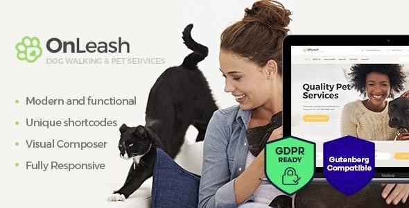 OnLeash v1.3 — Dog Walking & Pet Services Veterinary WordPress Theme