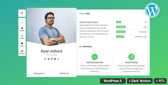 RyanCV v1.5.0 — Resume/CV/vCard Theme