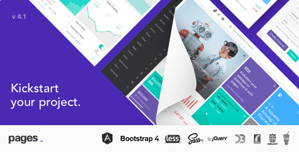 Pages v4.0.0 — Admin Dashboard Template with Angular 6, Bootstrap 4 & HTML