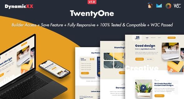 TwentyOne v1.0 — Responsive Email + Online Template Builder