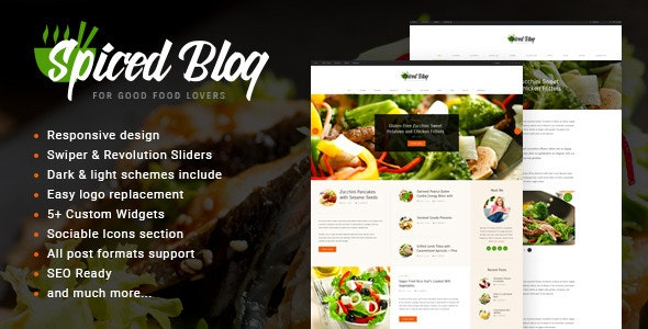 Spiced Blog v1.5.4 — A Crisp Recipes & Food Personal Page WordPress Theme