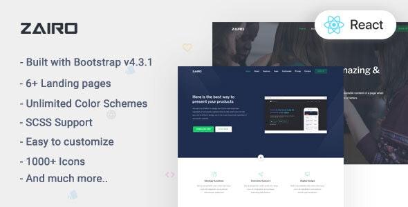 Zairo v1.0 — React Landing Page Template