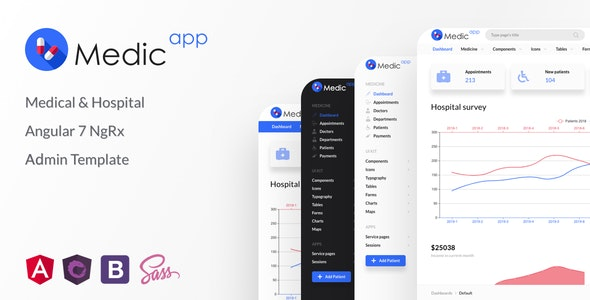 MedicApp v1.0.0 — Medical & Hospital Angular 8/9 NgRx Admin Template