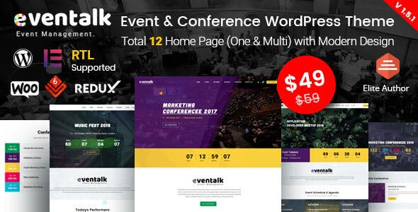 EvenTalk v1.5.7 — Event Conference WordPress Theme for Event and Conference