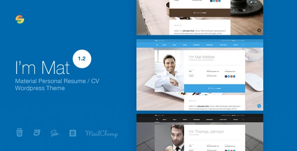 I am Mat v1.2 — Material Personal Resume / CV vCard WordPress Theme