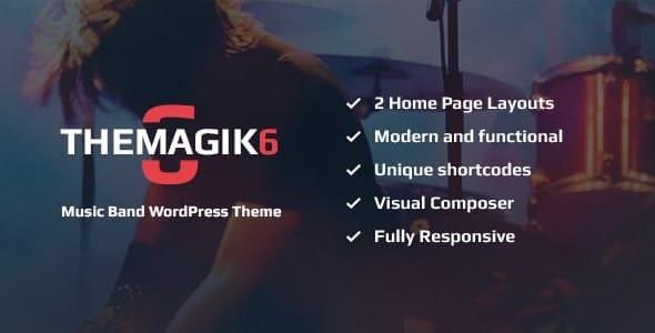 The Magic 6 v1.6 — Music Band & Musician Artist WordPress Theme