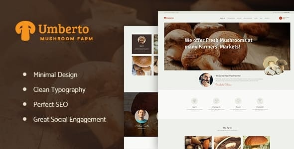 Umberto v1.1 — Mushroom Farm & Organic Products Store WordPress Theme