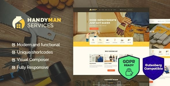 Handyman v1.4 — Construction and Repair Services Building WordPress Theme