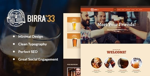 Birra33 v1.4 — Brewery Brewpub and Craft Beer Shop WordPress Theme