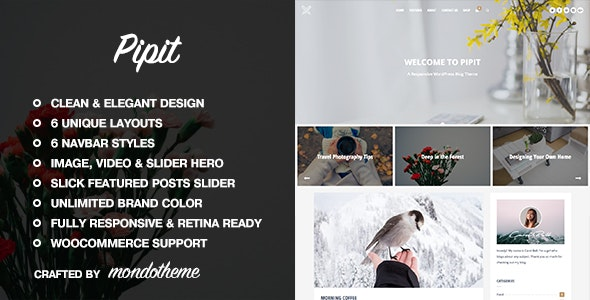Pipit v1.2 — A Responsive WordPress Blog Theme