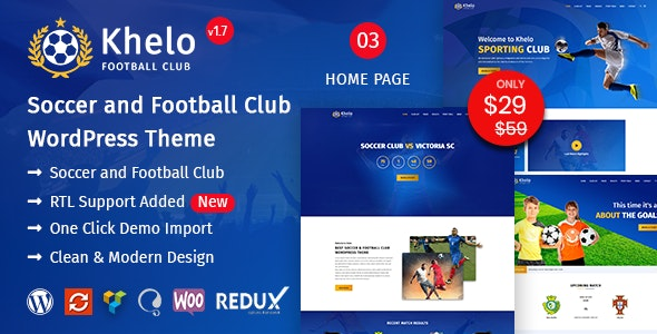 Khelo v2.0 — Soccer WordPress Theme