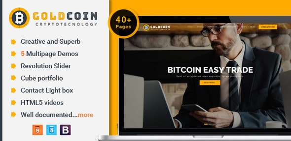 GoldCoin v1.0 — Bitcoin Cryptocurrency HTML Template