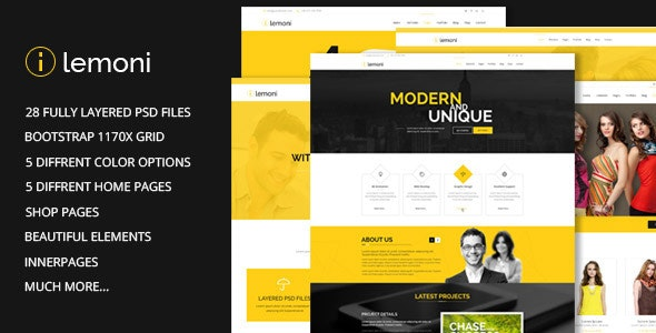 Lemoni v1.0 — Pixel Perfect & Multipurpose PSD Template