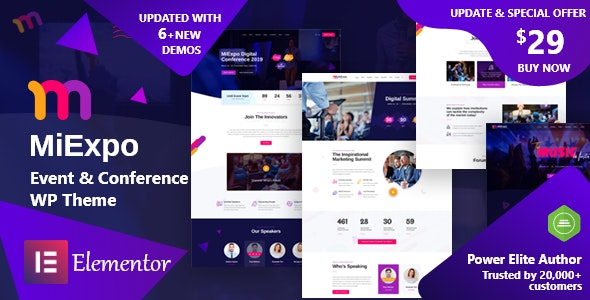 MiExpo v1.0 — Event Conference Elementor WordPress Theme