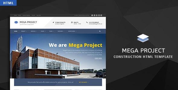 Mega Project v1.0 — Construction HTML Template