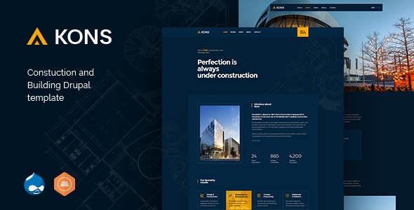 Kons v1.1 — Construction and Building Drupal 8 Theme