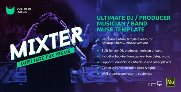 Mixter v1.0 — Ultimate DJ / Producer / Musician / Band Website Muse Template