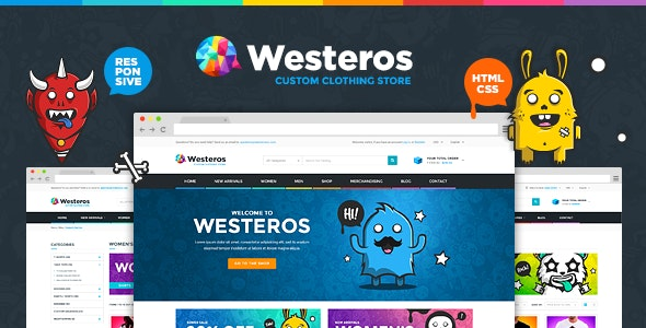 Westeros — Custom Clothing Responsive HTML Template — updated
