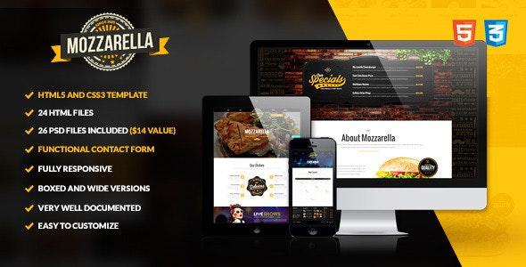 Mozzarella — HTML5 and CSS3 Cafe Bar Template