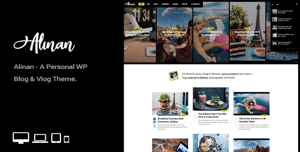 Alinan WP v1.7 — A Personal WordPress Blog and Vlog Theme