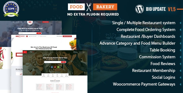 FoodBakery v1.5.0 — Food Delivery Restaurant Directory Theme