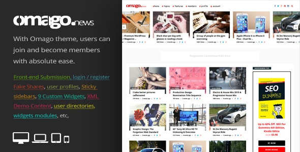 Omago News v1.9 — User Profile Membership & Content Sharing Theme