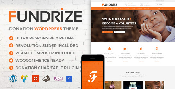 Fundrize v1.8 — Responsive Donation & Charity Theme