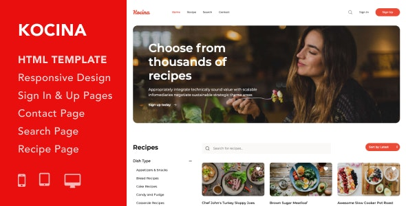 Kocina v1.0 — Cooking Recipes HTML5 Responsive Template