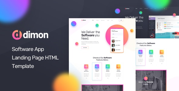 Dimon v1.0 — Software App Landing Page HTML Template