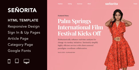 Senorita v1.0 — Magazine and Blog HTML5 Responsive Template