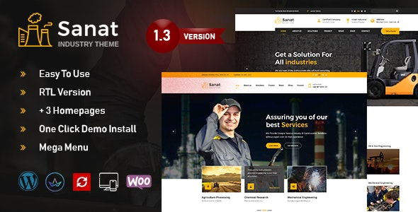Sanat v1.3.9.1 — Factory & Industry WordPress Theme