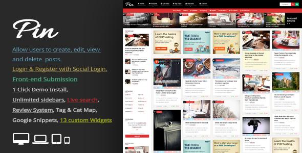 Pin v5.1 — Pinterest Style / Personal Masonry Blog