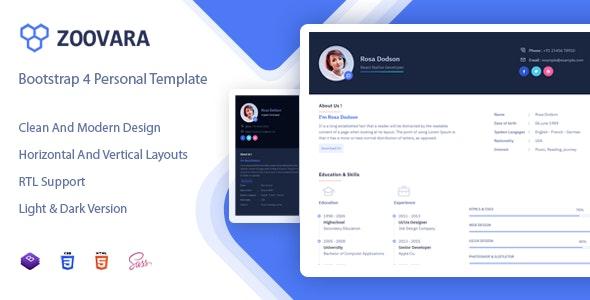 Zoovara 1.0 — Personal Resume / CV Template