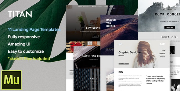 Titan v1.0 — Responsive Muse Templates for Landing Page + Gallery Widgets
