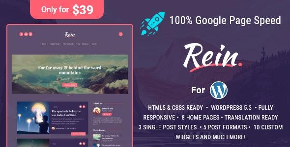 Rein v2.0.0 — Minimal Lightweight Dark Theme for WordPress