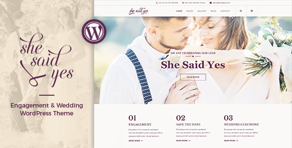 SheSaidYes v1.2.2 — Engagement & Wedding WordPress Theme