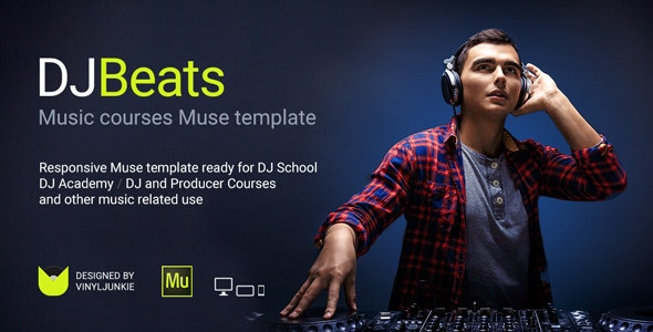 DJBeats v1.0 — DJ Courses / Scratch School / Music Academy Responsive Muse Template