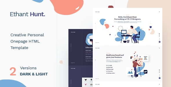 Ethant Hunt v1.0 — Personal Onepage HTML Template