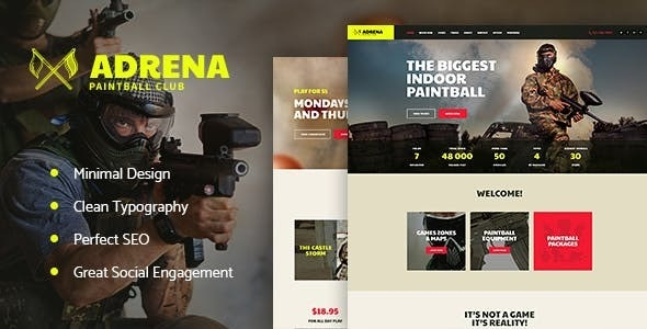 Adrena v1.2.2 — Airsoft Club & Paintball WordPress Theme